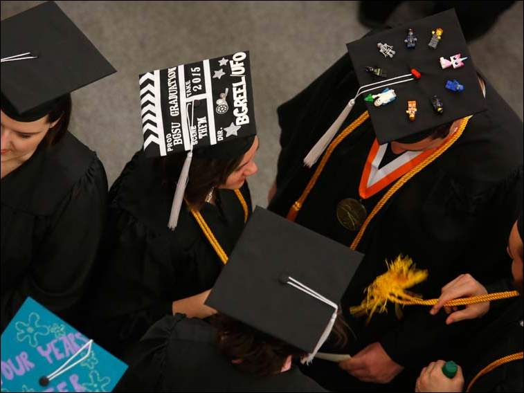 BGSU graduate Desiree Holton decorated her cap to celebrate graduating from the film production program.