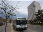 TARTA bus on Jackson Street near One Government Center in downtown Toledo.