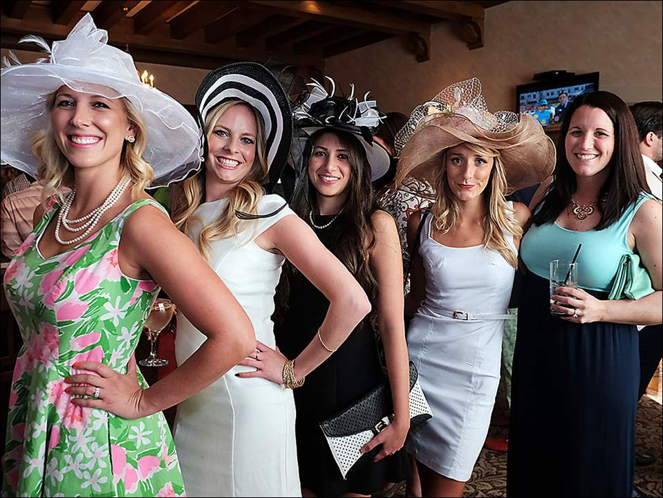 Left to right Liz Snavely, Mary Wilson, Frankie Decker, Tess Leininger, and Sarah Herman during a Kentucky Derby party Saturday, 05/02/15, at the Sylvania Country Club.