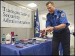 Randy Luke, Transportation Security Administration supervisor at Toledo Express Airport, explains prohibited items found at the airport.
