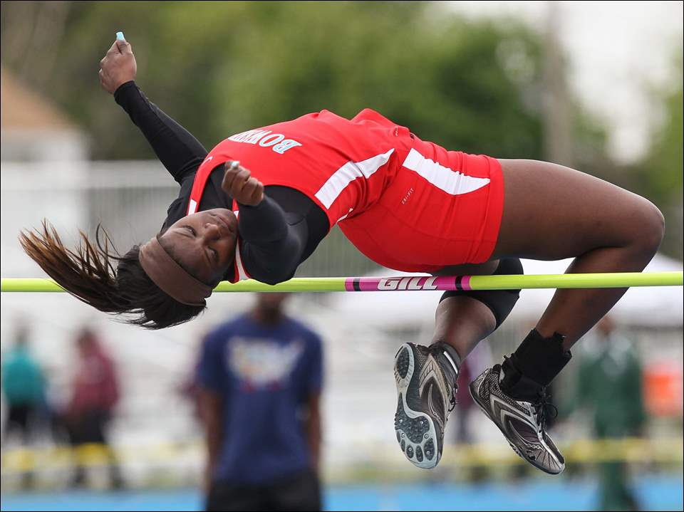 Kyrha Hollins of Bowsher wins the high jump.