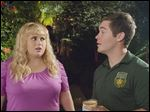 This photo released by Universal Pictures shows, Rebel Wilson, left, as Fat Amy, and Adam Devine as Bumper, in a scene from the film,