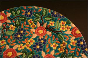 French, 20th century, Longwy Ware plate, after 1930 earthenware, enamels, and glaze.