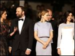 Ariane Labed, director Yorgos Lanthimos, Lea Seydoux and Rachel Weisz pose for photographers upon arrival for the screening of the film The Lobster at the 68th international film festival, Cannes, southern France on Friday.