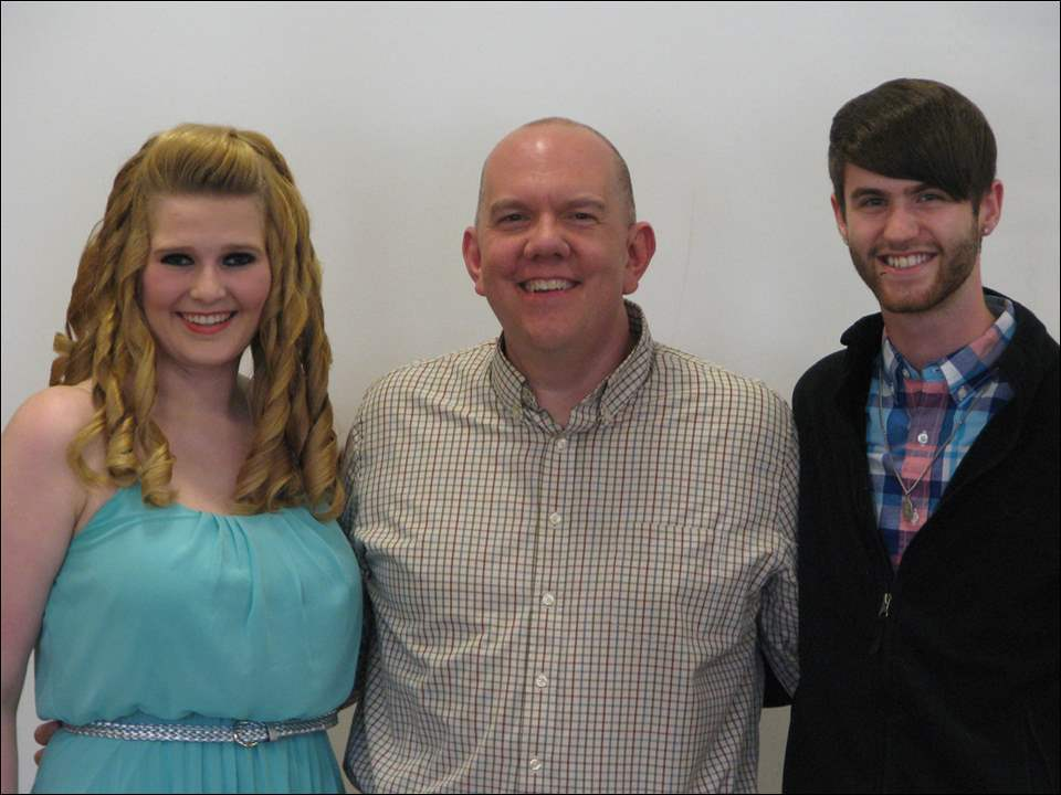 Roemer Insurance – Janice L. Ramsdell Endowed Scholarship for Theatre recipients Courtney Gilliland, left, and Stephen Carl, right, with Drama Society Advisor Keith Ramsdell.