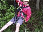 Quinn Logsdon, 39, is a guide and instructor at Common Ground Canopy Tours near Oberlin, a zipline facility that takes its customers through trees along the Vermilion River.