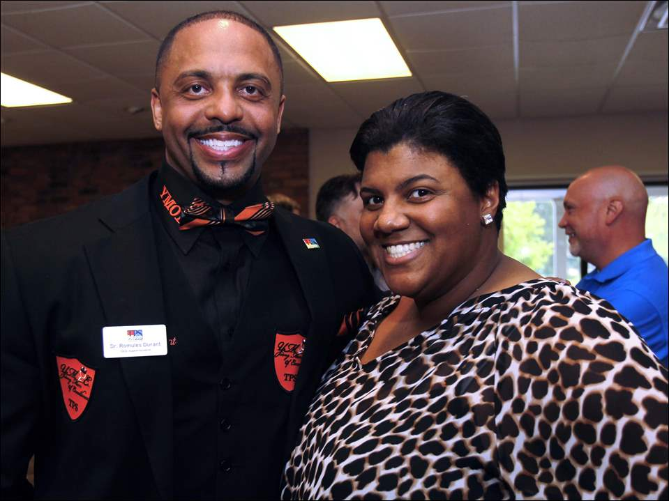 Romules Durant and Treva Jeffries at the Beethoven & Bar-B-Que event at Anderson's Activity Building in Toledo.