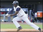 Toledo's Xavier Avery lays down a bunt against Buffalo during the third inning at Fifth Third Field.