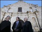 From left, Kris Kristofferson, Bill Paxton, and Phil Collins joke after the Texas Honors event Monday May 18, 2015 at the Alamo in San Antonio, Texas.