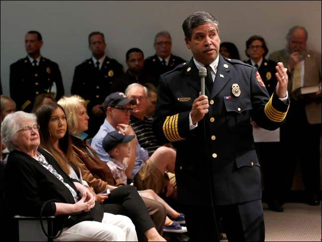 Toledo Fire Chief Luis Santiago addresses the new class of fire department recruits.