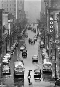 Toledo Blade file photo by Tom O'Reilly dated June 2, 1952.  Looking down (south) Superior Street as a pedestrian crosses Jackson St.