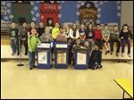 The Drink Pouch Brigade at Frank Elementary. The students promote recycling at the school.