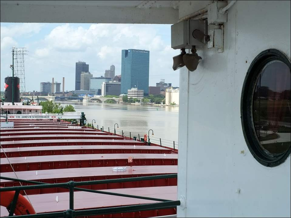 Skyline of Toledo from aboard The Col. James M. Schoonmaker Thursday, 06/04/15, in Toledo, Ohio. The Great Lakes Museum will have an exhibit about the sinking of the Edmund Fitzgerald to coincide with 40th-anniversary year of the November 11, 1975 sinking.