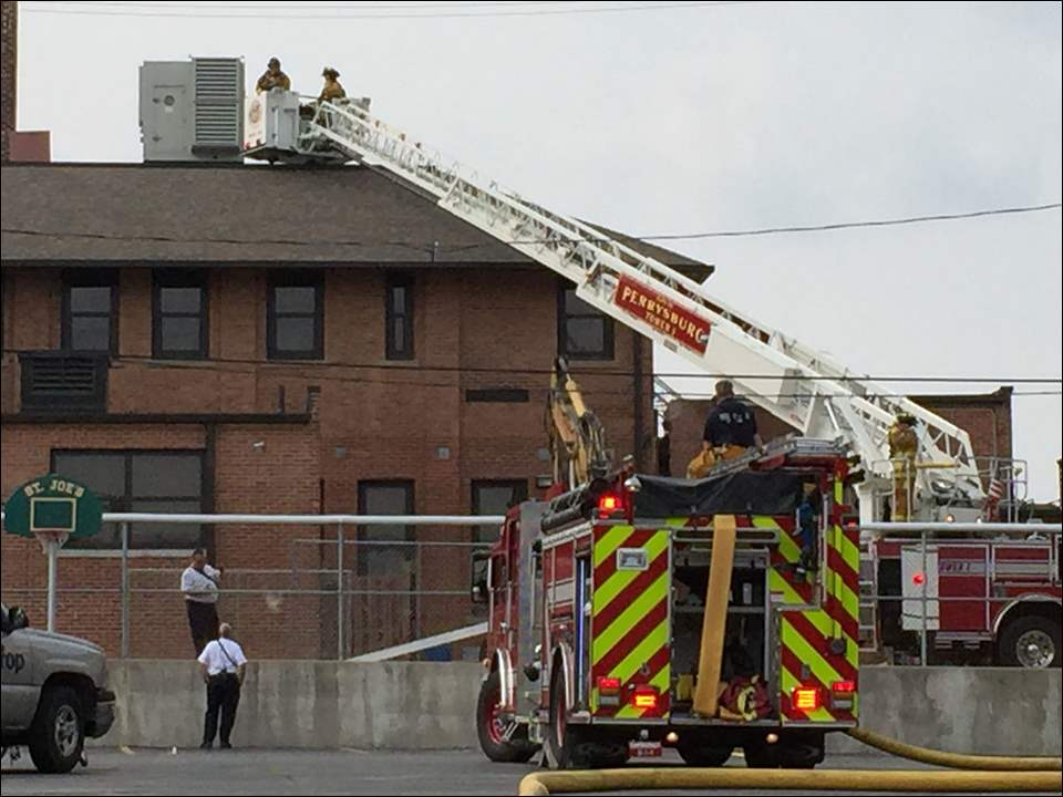 Scene of a fire St. Joseph's School in Maumee on Tuesday.