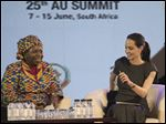 Hollywood actress and UN envoy on refugee issues, Angelina Jolie-Pitt, right, attends a discussion ahead of this weekends AU Summit in Johannesburg, today.