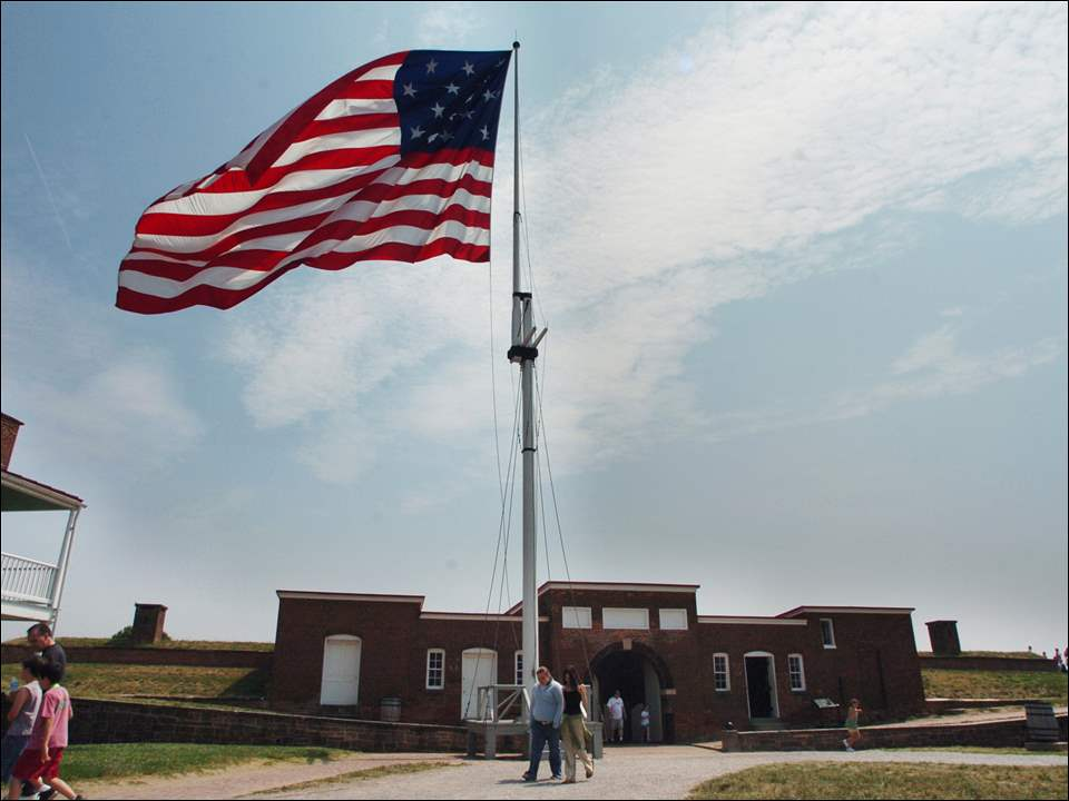 The American flag waves at Fort McHenry.