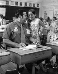 Larry Wamer tries out his daughters Terri Wamer school desk at an Coy Elementary School on May 21, 1971.