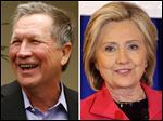 Ohio Gov. John Kasich, left, and former U.S. Secretary of State Hillary Clinton.