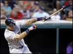 Detroit Tigers' Miguel Cabrera hits against Cleveland Indians starting pitcher Danny Salazar.