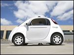 Google's self-driving prototype car is presented during a May demonstration at the Google campus in Mountain View, Calif.