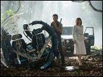 Chris Pratt, left, and Bryce Dallas Howard in a scene from the film,