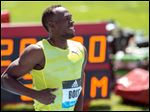 Jamaican sprinter and world record holder Usain Bolt at the Adidas Grand Prix athletics meet in New York on June 13.