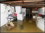 Jess Vance shows her flooded basement at her home on King Street in Blissfield, Mich.
