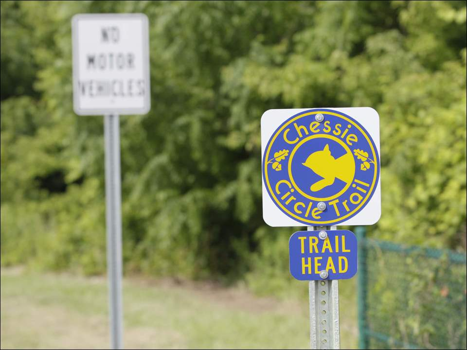 The trail head marker for the Chessie Circle Trail at the trail at Jackman Road.