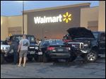 Scene at the Port Clinton Walmart where a truck went out of control and struck several people.