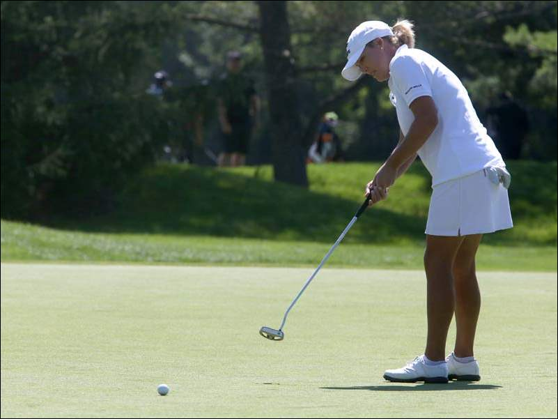 LPGA golfer Christie Kerr putts on 18 during the Fathead Pro-Am Wednesday.