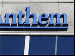 The Anthem logo at the health insurer's corporate headquarters in Indianapolis.