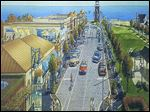 An artist's rendering of Luna Pier Road reflects the work that is planned to make the town's main street more friendly to pedestrians and perhaps private developers.
