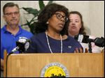 Toledo Mayor Paula Hicks-Hudson updates the current status of Toledo's water to 'watch during a news conference Monday.