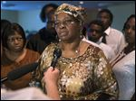 Audrey Dubose, mother of Samuel Dubose, speaks to the media following funeral services at the Church of the Living God in the Avondale neighborhood of Cincinnati, Tuesday.