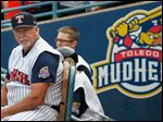 Parrish before playing the Durham Bulls in a baseball game June 30, 2015, at Fifth Third Field in Toledo.