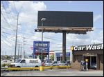 A billboard ad in the 5000 block of Monroe Street near the Franklin Park Mall that previously was promoting Denny Schaffer's radio show was removed Wednesday.
