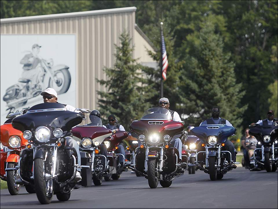 Riders take off from Toledo Harley Davidson on July 25 for the Ride for Kids Sake to benefit the Big Brothers Big Sisters.