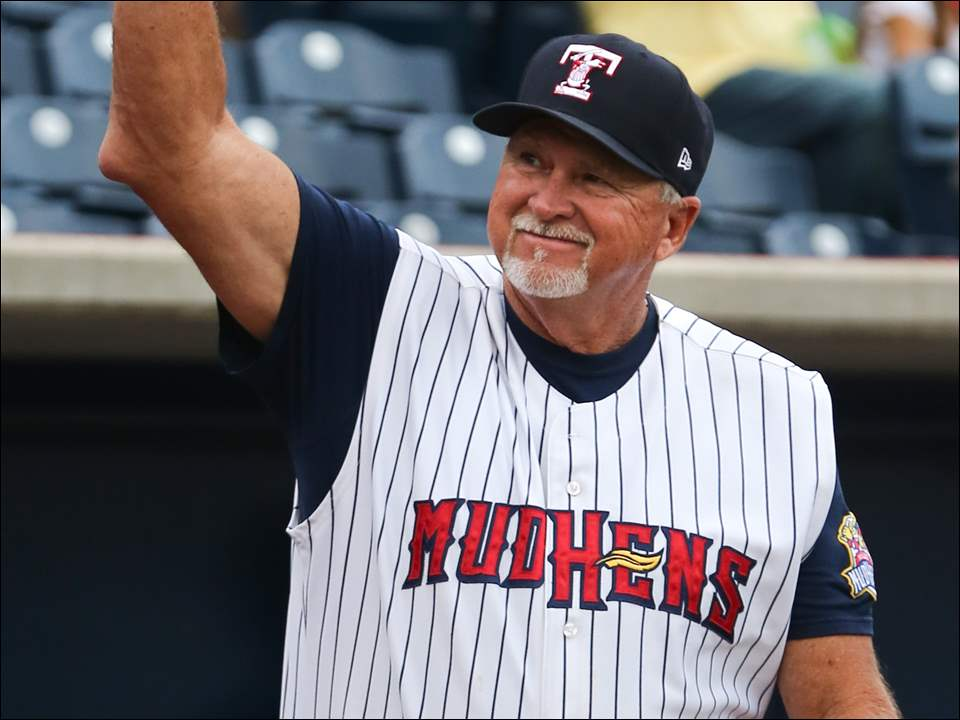 Toledo Mud Hens manager Larry Parrish, also the manager of the 2005 championship team, during a 10-year anniversary celebration.