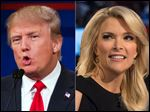 Republican presidential candidate Donald Trump, left, and Fox News Channel host and moderator Megyn Kelly.