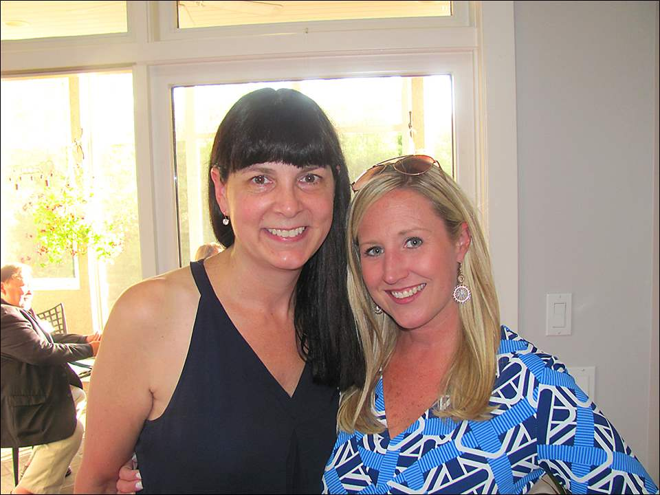 Susan Allen Block, left, and Christine Rotterdam at the Good Grief soiree at the home of Scott and Margy Trumbull during the Good Grief soiree at the Trumbull's home.