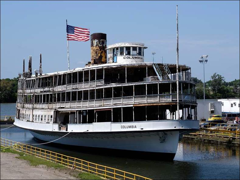 The Boblo steamship S.S. Columbia at Ironhead Shipyard in Toledo.  The SS Columbia Project invited the public to tour one last time before it makes the trek across Lake Erie to Buffalo, N.Y., where it will be restored.