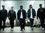 Aldis Hodge, from left, as MC Ren, Neil Brown, Jr. as DJ Yella, Jason Mitchell as Eazy-E, O'Shea Jackson, Jr. as Ice Cube and Corey Hawkins as Dr. Dre, in the film,