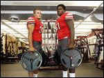 Central Catholic linebacker Zach Sandwisch (6-2, 200), left, and  lineman James Hudson (6-5, 280) will help lift the Irish to another state championship.