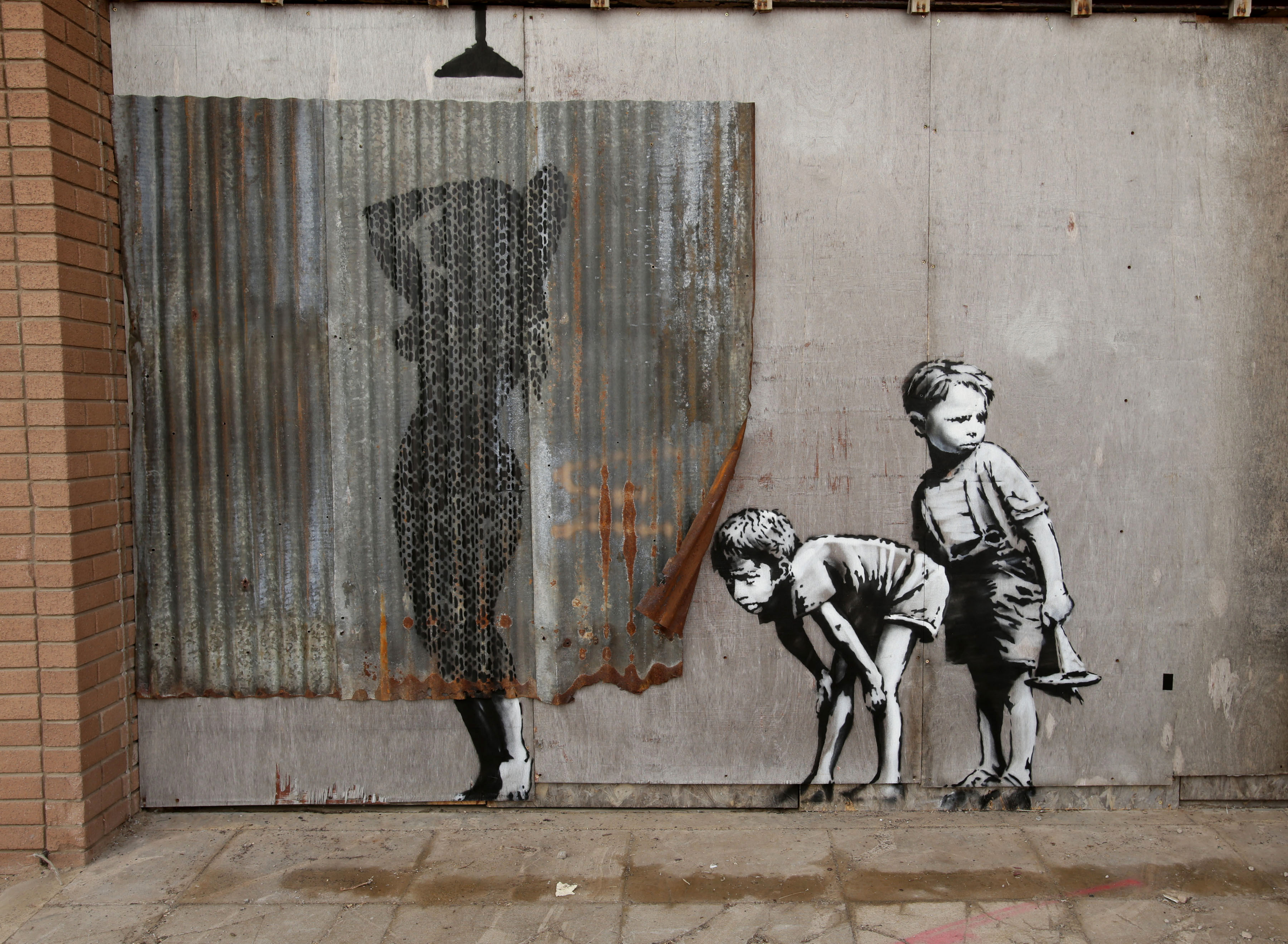 Panda Wall Mural Artist Banksy Opens Derelict Dismaland Theme Park The