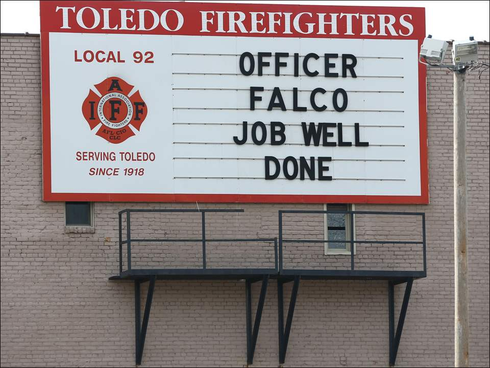 Sign in support of K-9 Officer Falko Friday, 08/14/15, at the Toledo Firefigters Local 92 in Toledo, Ohio.