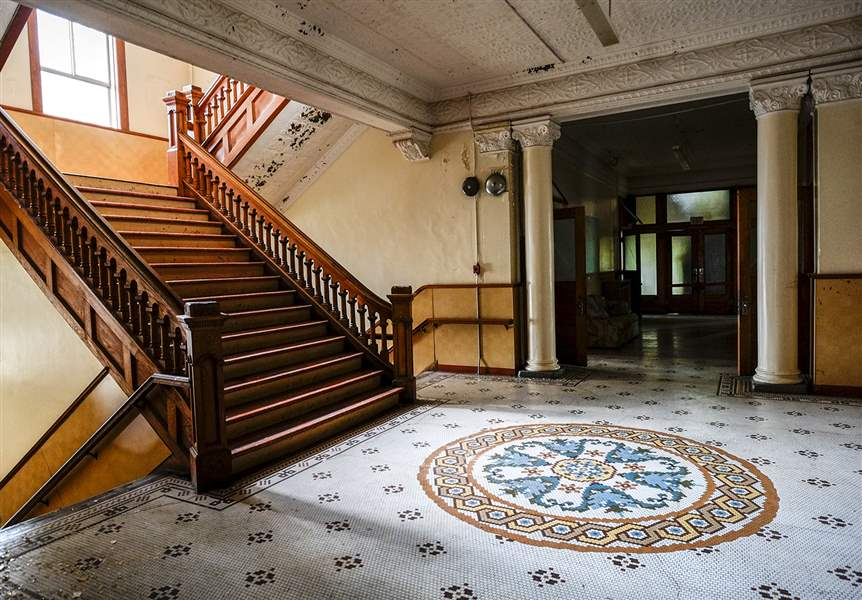 The Main Staircase In Former St Hedwigs School Will Be Preserved As Building Transitions To A Senior Housing Facility