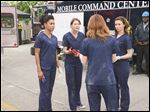 From left, Kelly McCreary, Ellen Pompeo, Sarah Drew and Caterina Scorsone in 'Grey's Anatomy.'