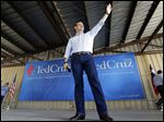 Republican presidential candidate Texas Sen. Ted Cruz waves before speaking to supporters during a campaign event at the Stockyards in Forth Worth, Texas, Thursday, Sept. 3, 2015. (AP Photo/LM Otero)