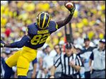 UM receiver Amara Darboh makes a one-handed catch in the first quarter Saturday. The Sierra Leone native became a U.S. citizen last week.