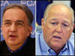 Fiat Chrysler Automobiles CEO Sergio Marchionne, left, and UAW President Dennis Williams, right.